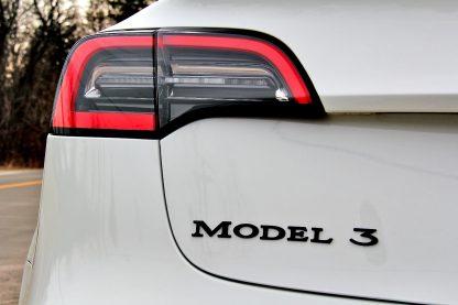 Model 3 Badge Emblem Black Zoomed