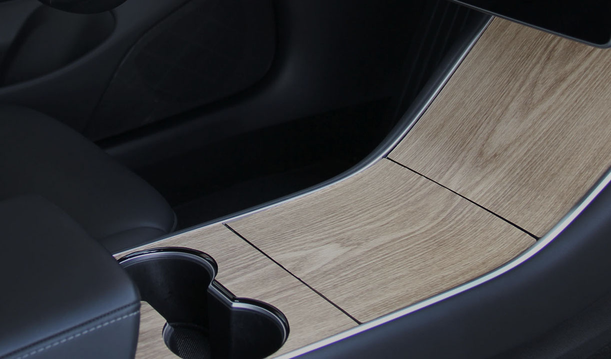 Center Console modern wood wrap